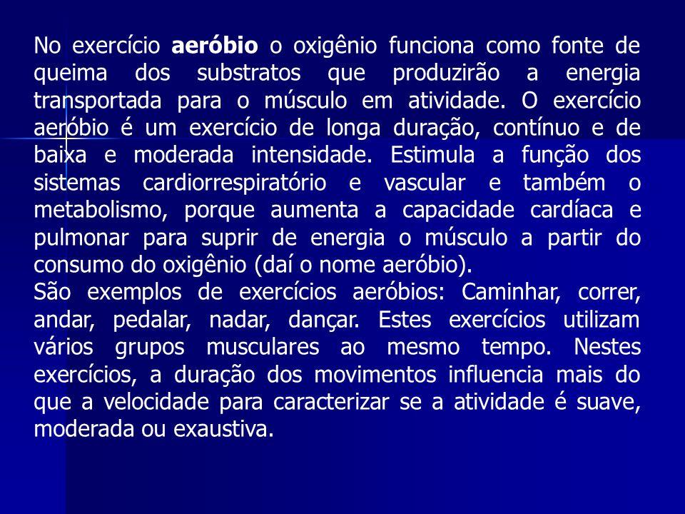 No exercício aeróbio o oxigênio funciona como fonte de queima dos substratos que produzirão a energia transportada para o músculo em atividade. O exercício aeróbio é um exercício de longa duração, contínuo e de baixa e moderada intensidade. Estimula a função dos sistemas cardiorrespiratório e vascular e também o metabolismo, porque aumenta a capacidade cardíaca e pulmonar para suprir de energia o músculo a partir do consumo do oxigênio (daí o nome aeróbio).
