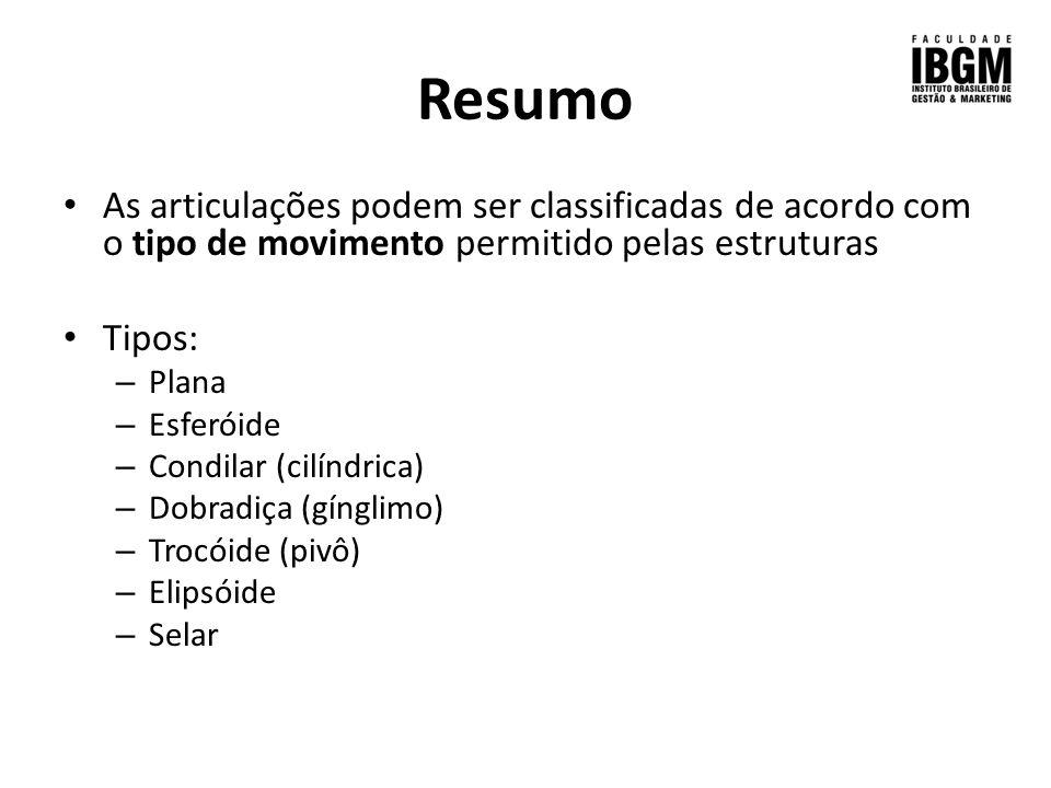 Resumo As articulações podem ser classificadas de acordo com o tipo de movimento permitido pelas estruturas.