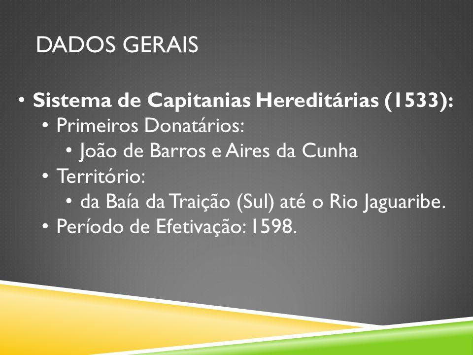 DADOS GERAIS Sistema de Capitanias Hereditárias (1533):