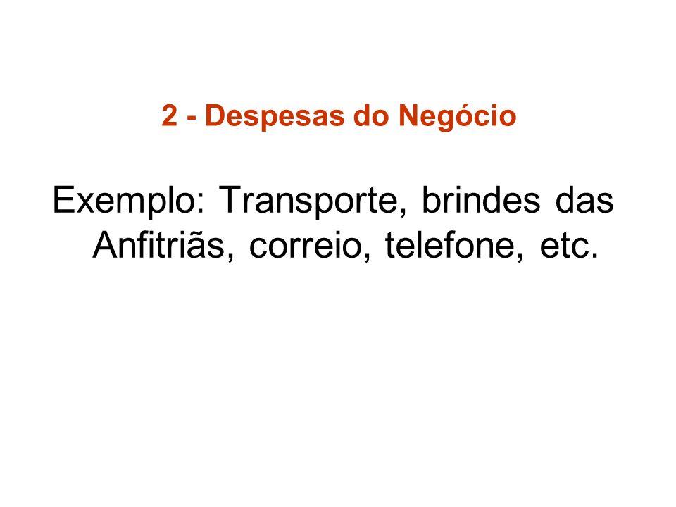 Exemplo: Transporte, brindes das Anfitriãs, correio, telefone, etc.