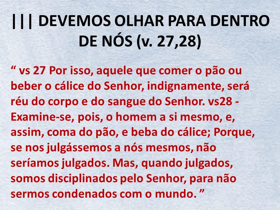 ||| DEVEMOS OLHAR PARA DENTRO DE NÓS (v. 27,28)