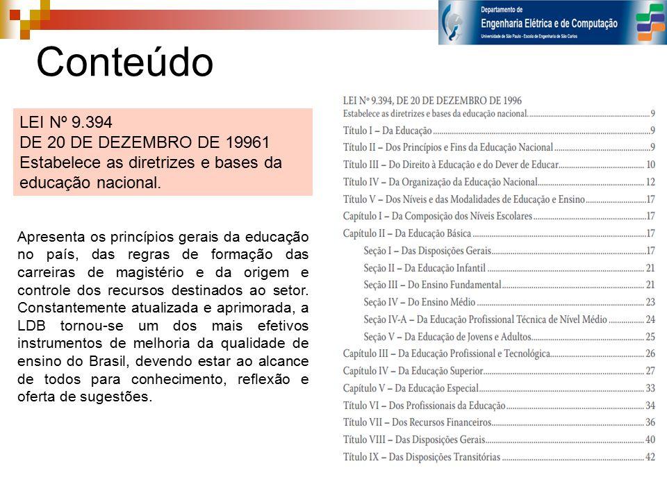 Conteúdo LEI Nº 9.394 DE 20 DE DEZEMBRO DE 19961