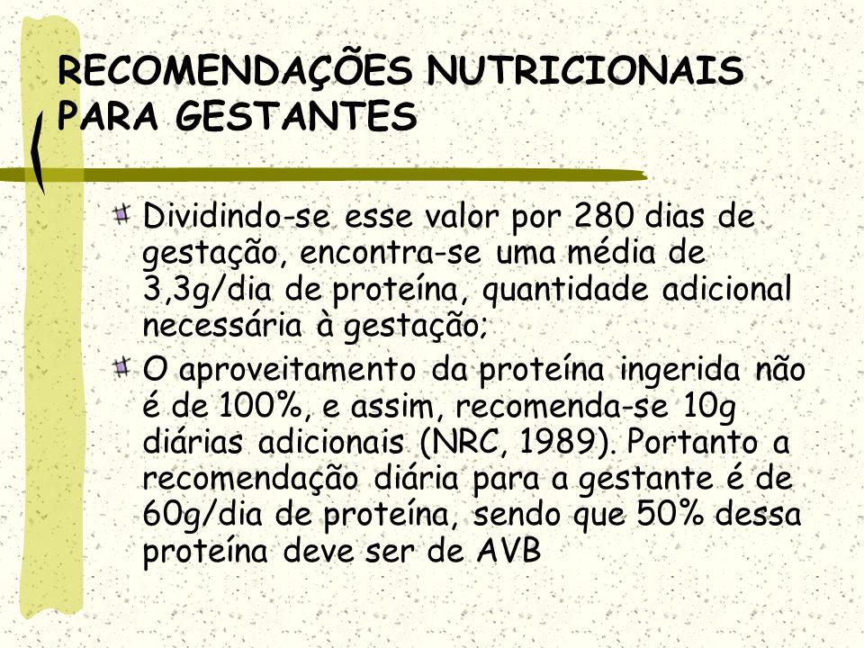 RECOMENDAÇÕES NUTRICIONAIS PARA GESTANTES