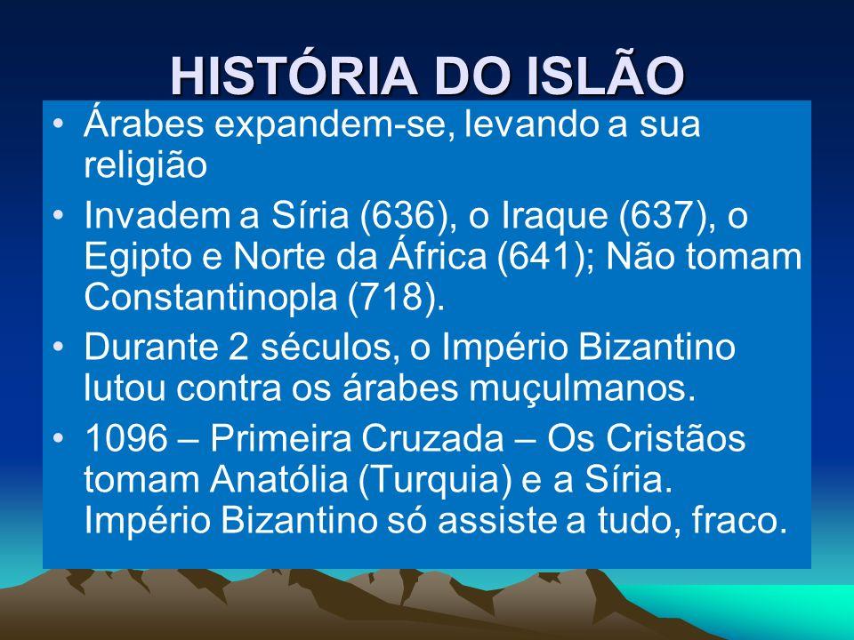 HISTÓRIA DO ISLÃO Árabes expandem-se, levando a sua religião