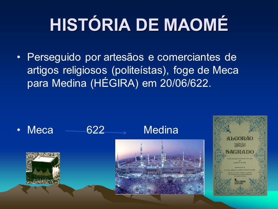 HISTÓRIA DE MAOMÉ Perseguido por artesãos e comerciantes de artigos religiosos (politeístas), foge de Meca para Medina (HÉGIRA) em 20/06/622.