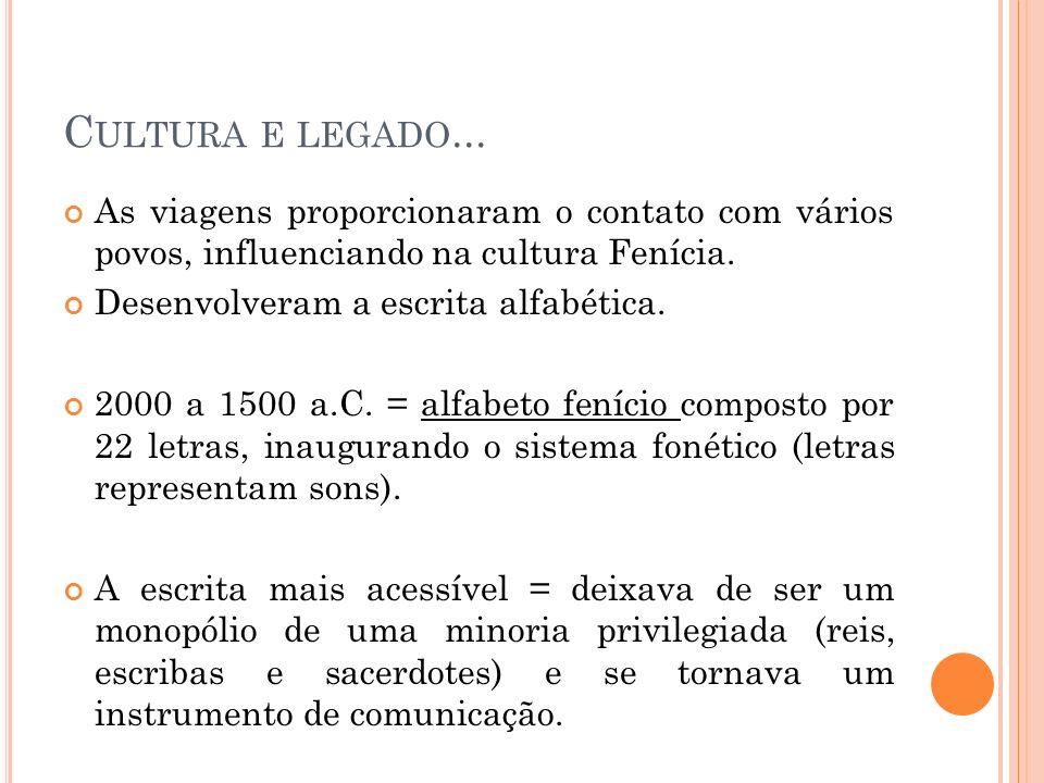 Cultura e legado... As viagens proporcionaram o contato com vários povos, influenciando na cultura Fenícia.