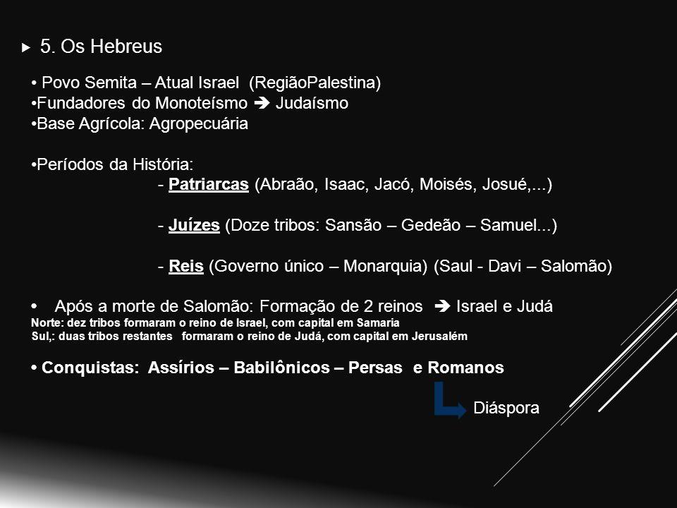 5. Os Hebreus Povo Semita – Atual Israel (RegiãoPalestina)
