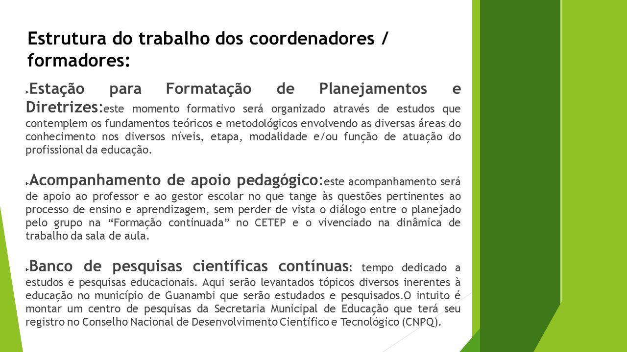 Estrutura do trabalho dos coordenadores / formadores: