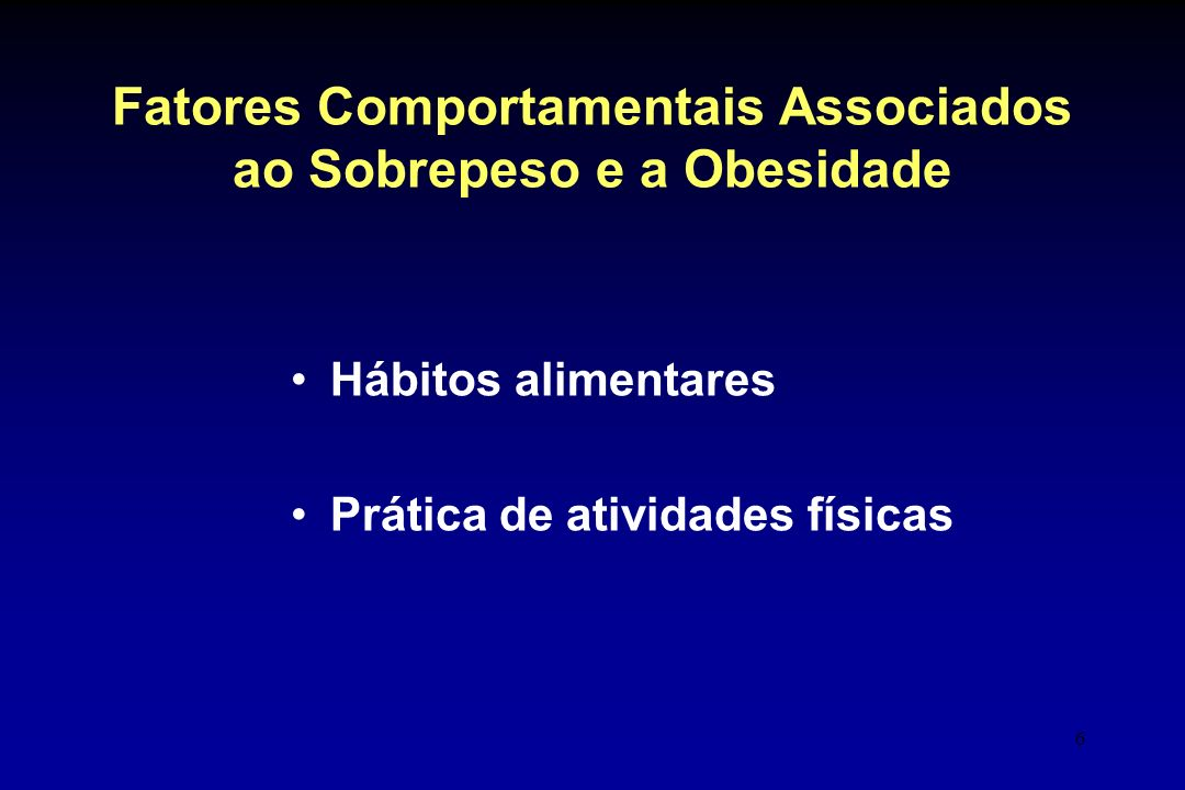 Fatores Comportamentais Associados ao Sobrepeso e a Obesidade