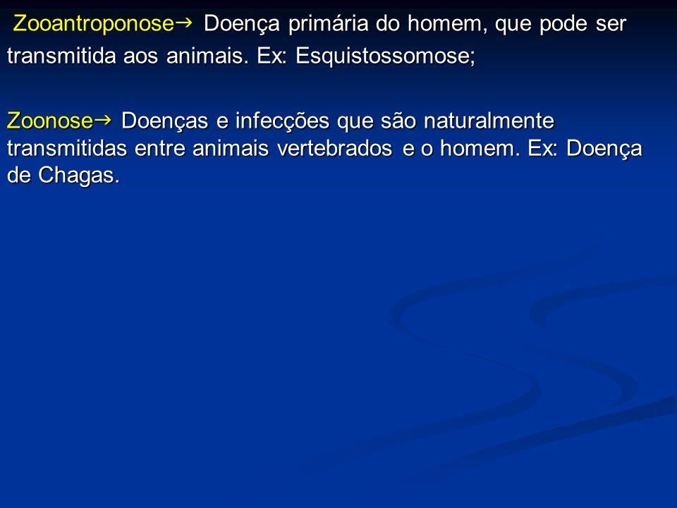 Zooantroponose Doença primária do homem, que pode ser