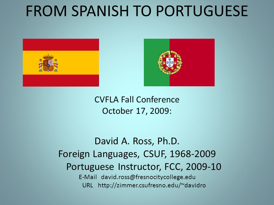 FROM SPANISH TO PORTUGUESE CVFLA Fall Conference October 17, 2009: David A.