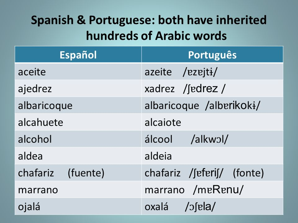 Spanish & Portuguese: both have inherited hundreds of Arabic words