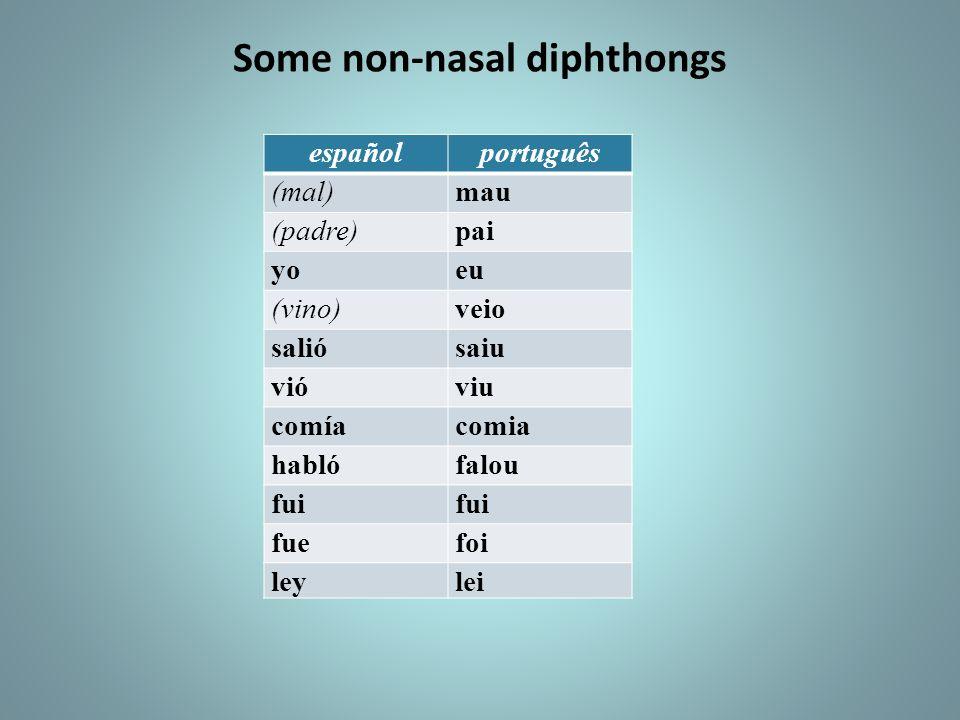 Some non-nasal diphthongs