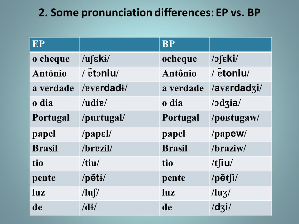 2. Some pronunciation differences: EP vs. BP