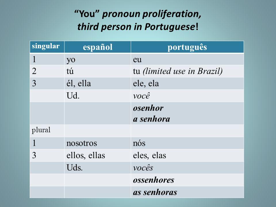 You pronoun proliferation, third person in Portuguese!