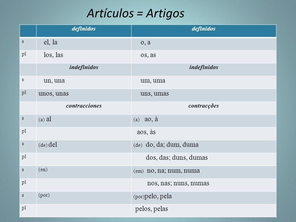 Artículos = Artigos el, la o, a los, las os, as un, una um, uma
