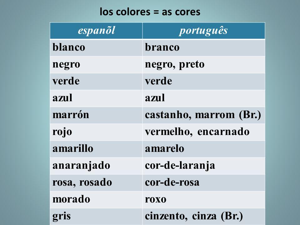 los colores = as cores espanõl. português. blanco. branco. negro. negro, preto. verde. azul.