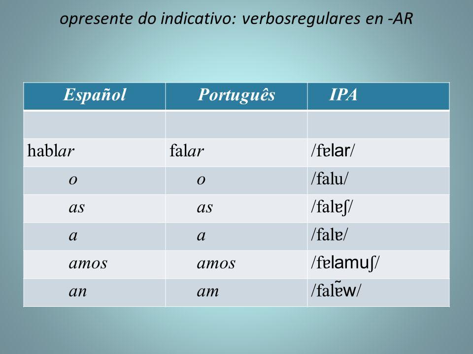 opresente do indicativo: verbosregulares en -AR