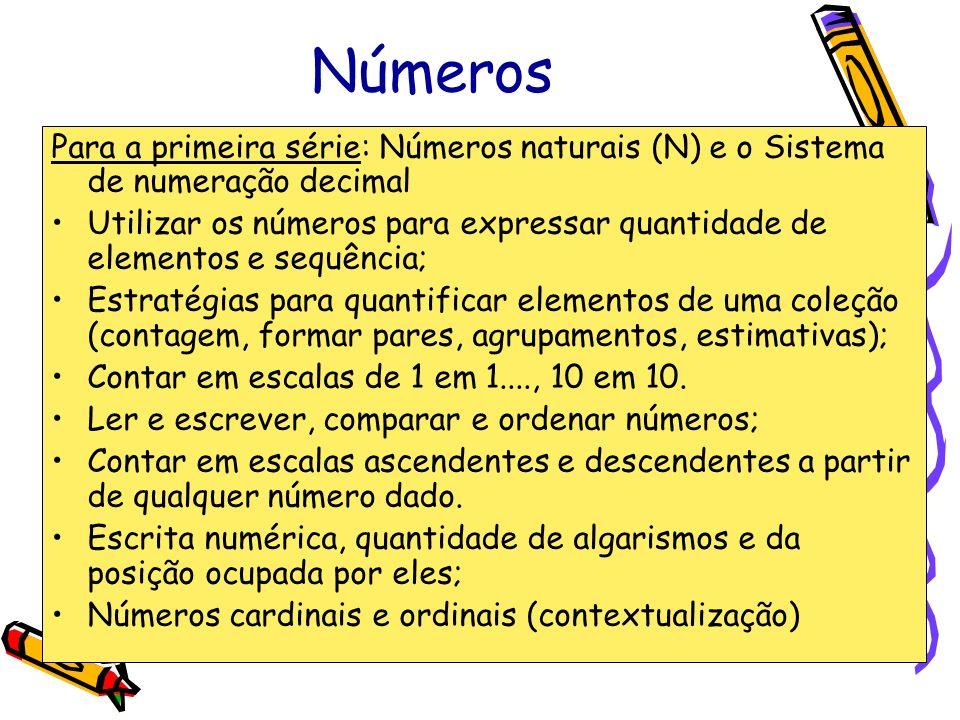 Números Para a primeira série: Números naturais (N) e o Sistema de numeração decimal.