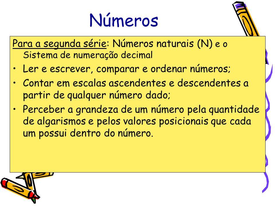Números Para a segunda série: Números naturais (N) e o Sistema de numeração decimal. Ler e escrever, comparar e ordenar números;