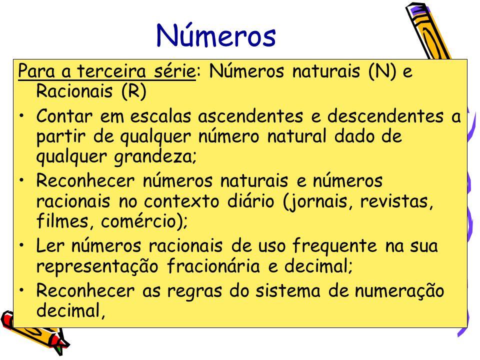 Números Para a terceira série: Números naturais (N) e Racionais (R)