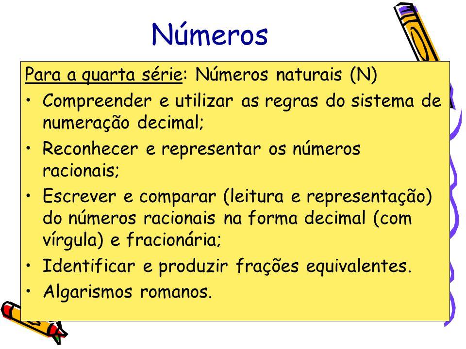 Números Para a quarta série: Números naturais (N)
