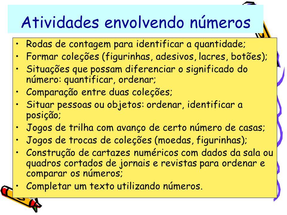 Atividades envolvendo números