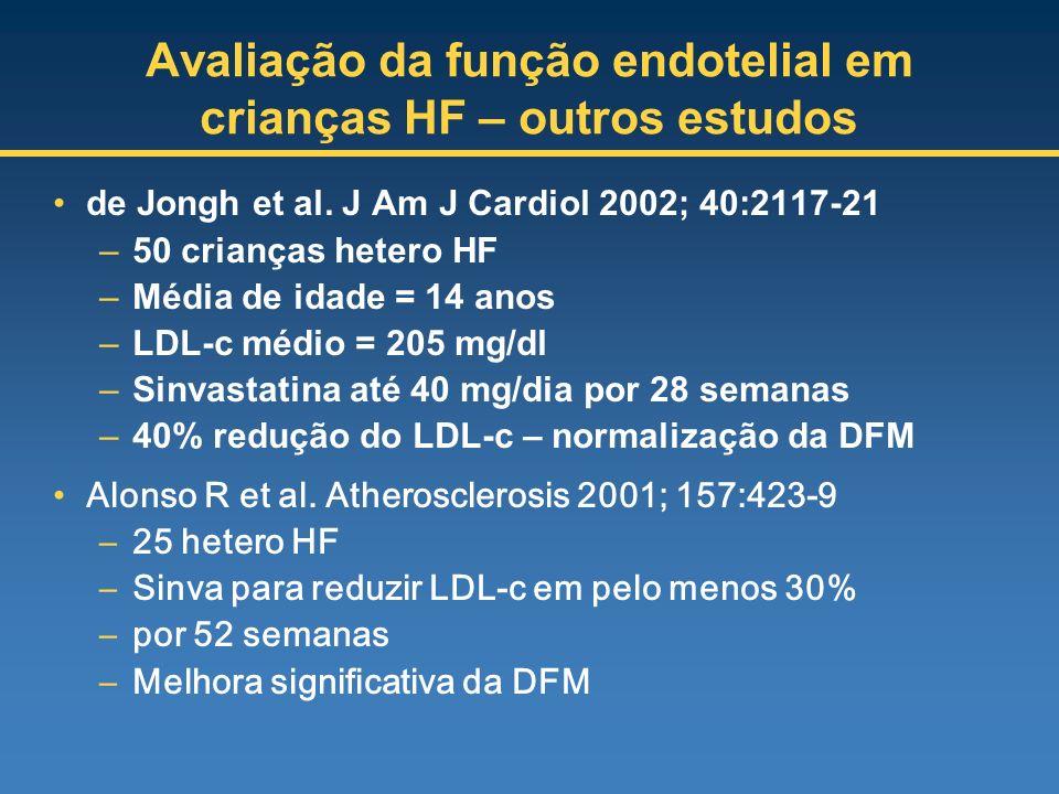 Avaliação da função endotelial em crianças HF – outros estudos