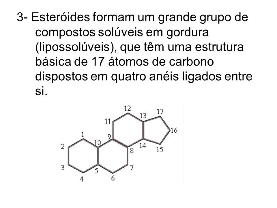 3- Esteróides formam um grande grupo de compostos solúveis em gordura (lipossolúveis), que têm uma estrutura básica de 17 átomos de carbono dispostos em quatro anéis ligados entre si.