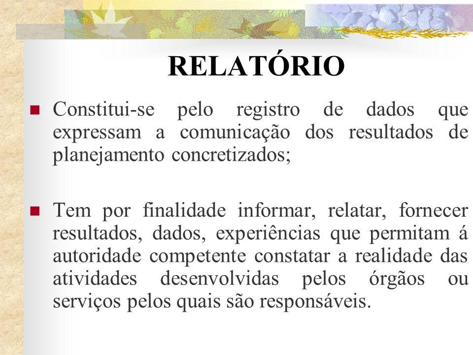 RELATÓRIO Constitui-se pelo registro de dados que expressam a comunicação dos resultados de planejamento concretizados;