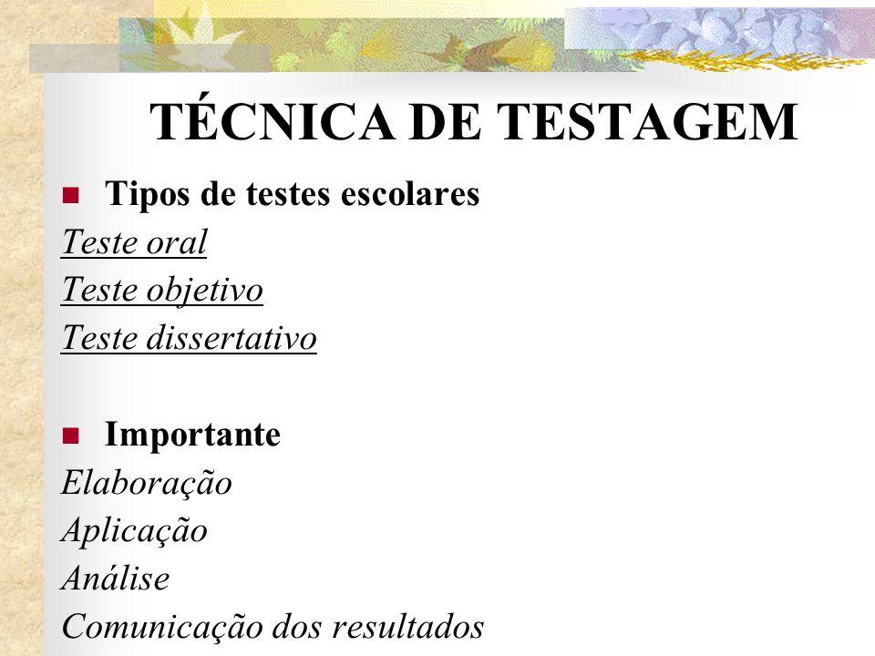 TÉCNICA DE TESTAGEM Tipos de testes escolares Teste oral
