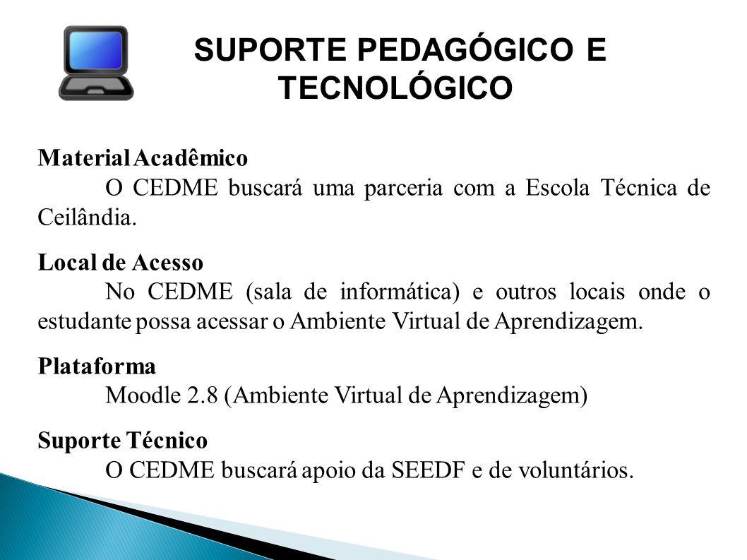 SUPORTE PEDAGÓGICO E TECNOLÓGICO