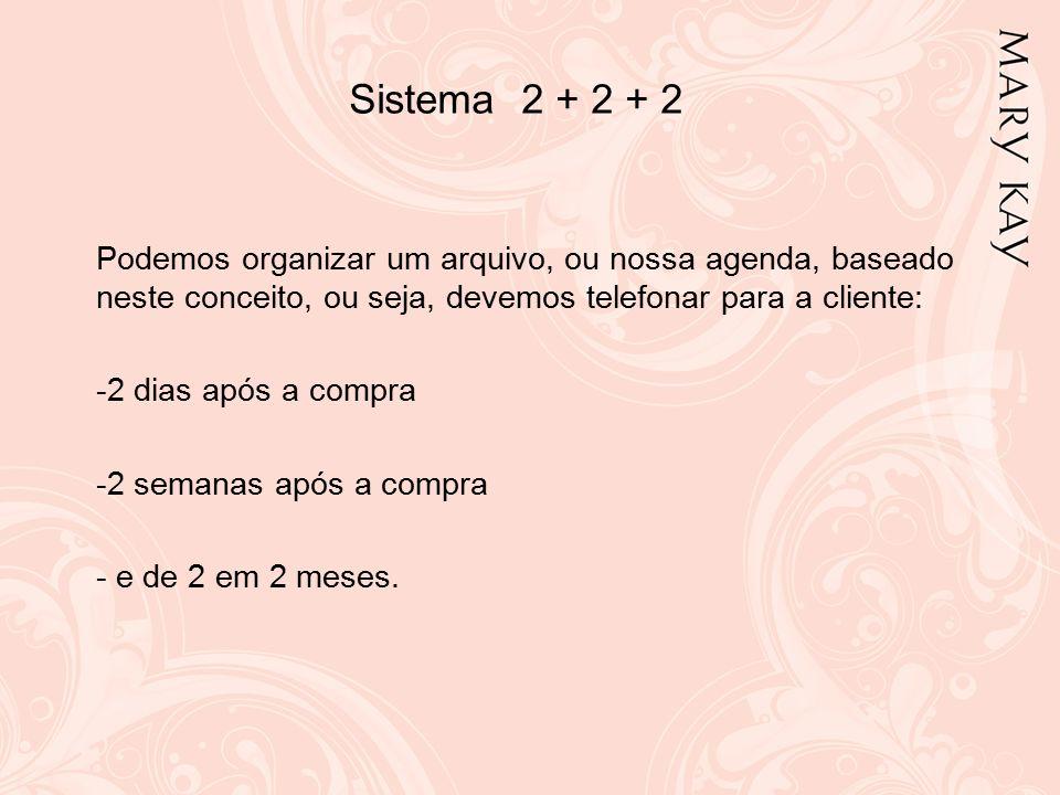 Sistema 2 + 2 + 2 Podemos organizar um arquivo, ou nossa agenda, baseado neste conceito, ou seja, devemos telefonar para a cliente: