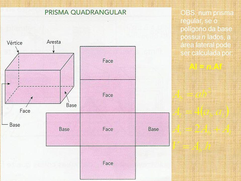 OBS: num prisma regular, se o polígono da base possui n lados, a área lateral pode ser calculada por: