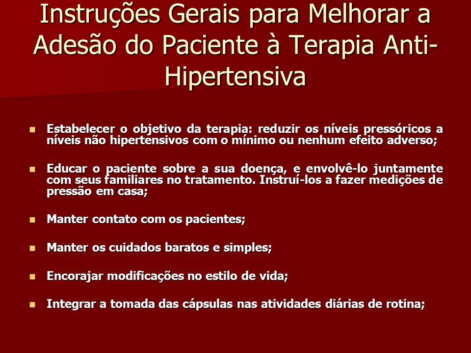 Instruções Gerais para Melhorar a Adesão do Paciente à Terapia Anti-Hipertensiva