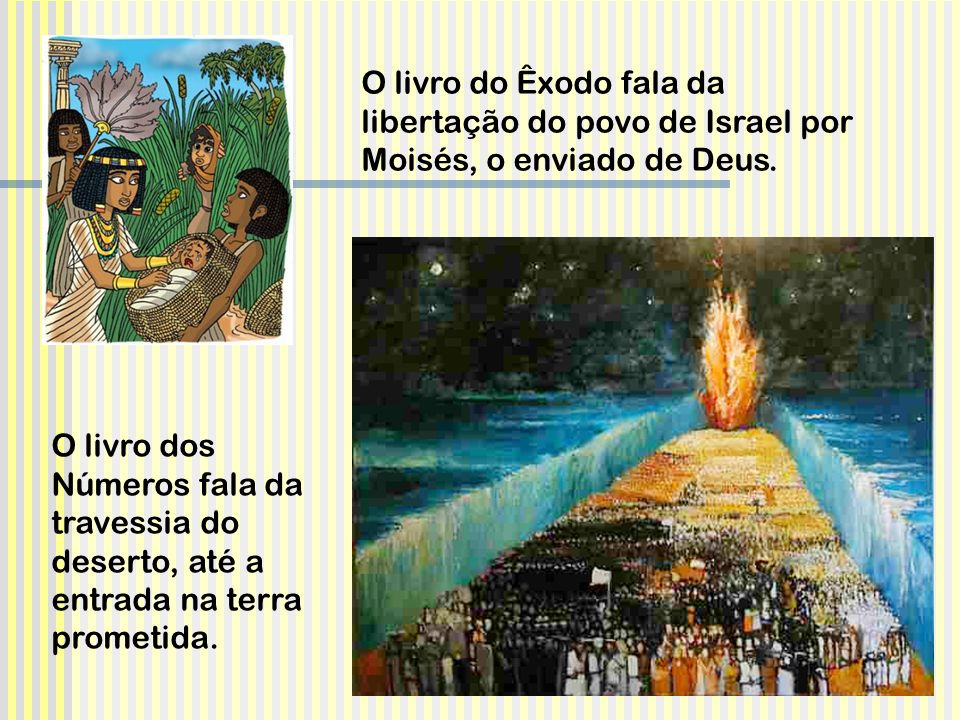O livro do Êxodo fala da libertação do povo de Israel por Moisés, o enviado de Deus.