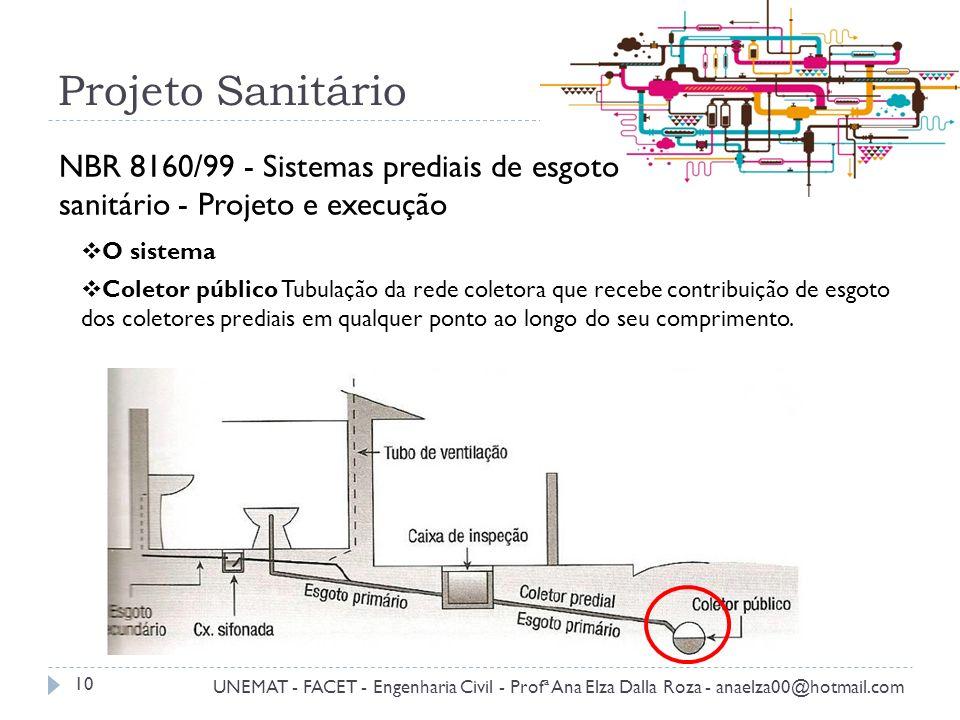 Projeto Sanitário NBR 8160/99 - Sistemas prediais de esgoto sanitário - Projeto e execução O sistema.