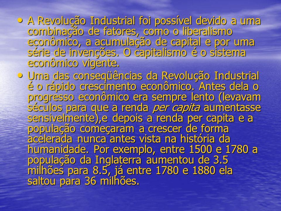 A Revolução Industrial foi possível devido a uma combinação de fatores, como o liberalismo econômico, a acumulação de capital e por uma série de invenções. O capitalismo é o sistema econômico vigente.