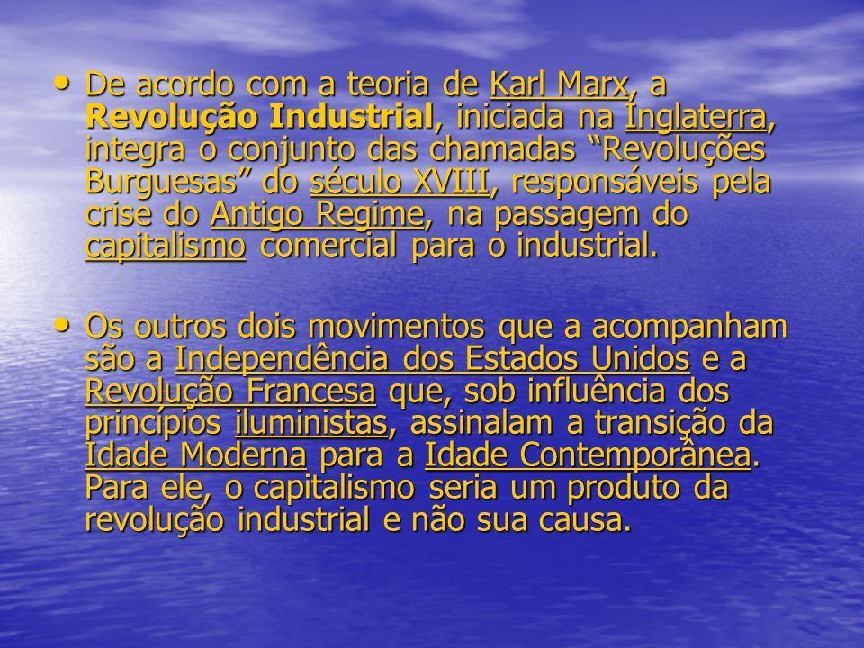 De acordo com a teoria de Karl Marx, a Revolução Industrial, iniciada na Inglaterra, integra o conjunto das chamadas Revoluções Burguesas do século XVIII, responsáveis pela crise do Antigo Regime, na passagem do capitalismo comercial para o industrial.