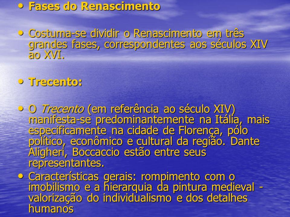 Fases do Renascimento Costuma-se dividir o Renascimento em três grandes fases, correspondentes aos séculos XIV ao XVI.