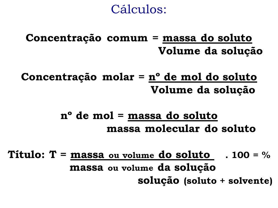 Cálculos: Concentração comum = massa do soluto Volume da solução