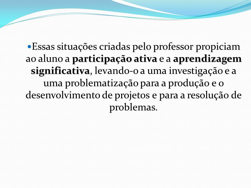 Essas situações criadas pelo professor propiciam ao aluno a participação ativa e a aprendizagem significativa, levando-o a uma investigação e a uma problematização para a produção e o desenvolvimento de projetos e para a resolução de problemas.