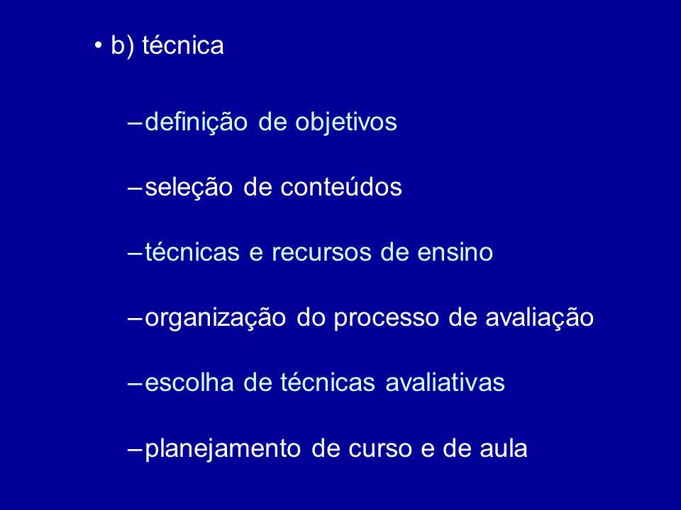 b) técnica definição de objetivos. seleção de conteúdos. técnicas e recursos de ensino. organização do processo de avaliação.