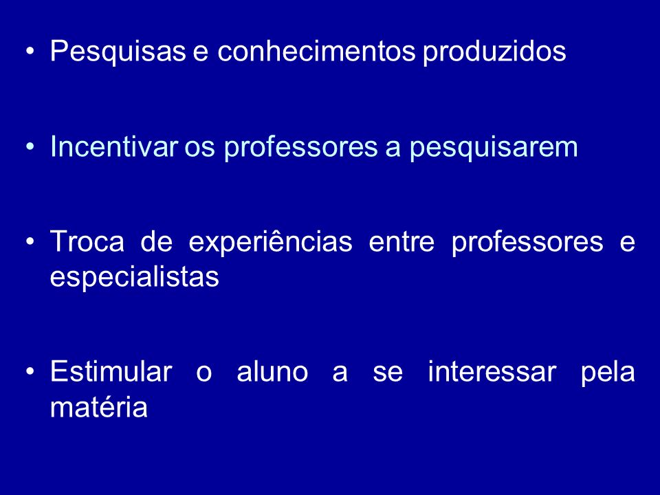 Pesquisas e conhecimentos produzidos