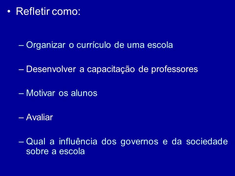 Refletir como: Organizar o currículo de uma escola