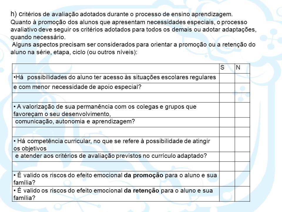 h) critérios de avaliação adotados durante o processo de ensino aprendizagem.