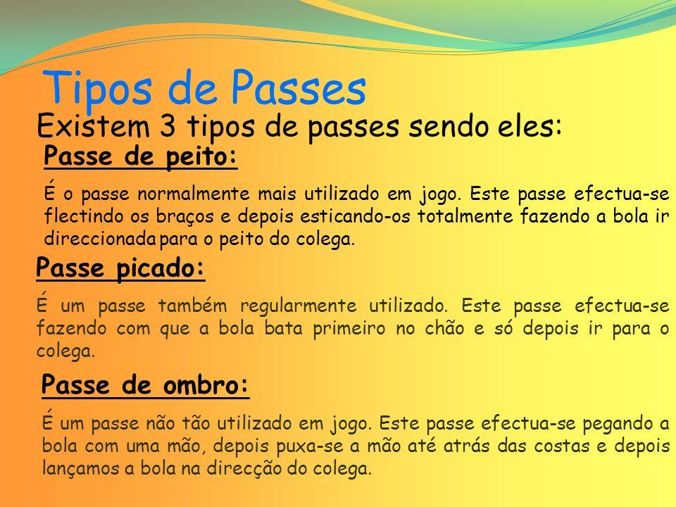 Tipos de Passes Existem 3 tipos de passes sendo eles: Passe de peito: