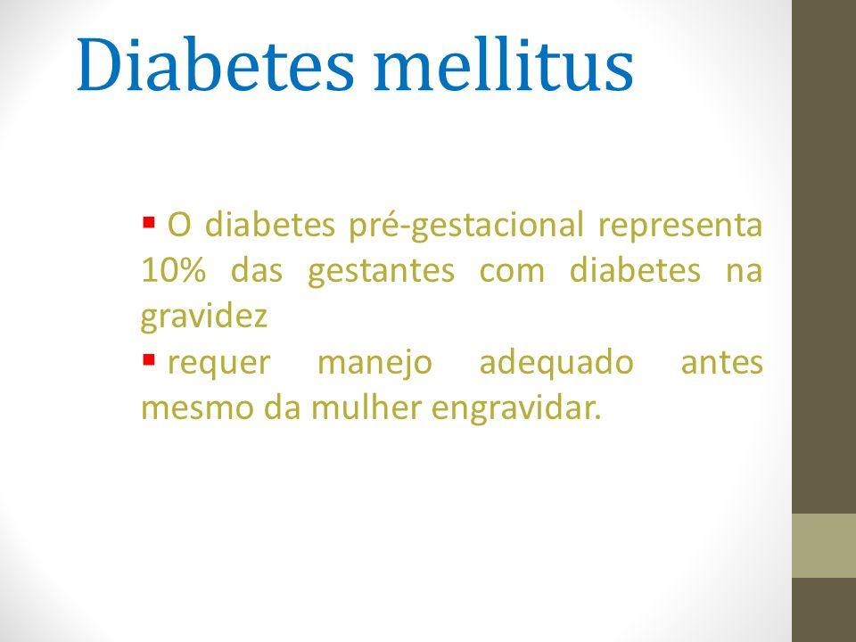 Diabetes mellitus O diabetes pré-gestacional representa 10% das gestantes com diabetes na gravidez.