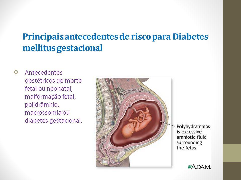 Principais antecedentes de risco para Diabetes mellitus gestacional
