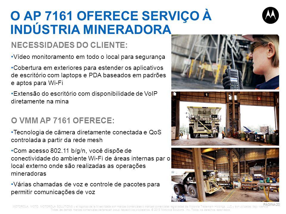 O AP 7161 OFERECE SERVIÇO À INDÚSTRIA MINERADORA